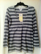 Oh Baby by Motherhood Gray V-Neck Striped Maternity Sweater Top Sizes S, M, L