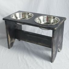 """Elevated Dog Bowl Stand - Wooden - 2 Bowls - 350 mm/14"""" Tall - Raised Dog Bowls"""