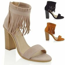 NEW WOMENS ANKLE STRAP FRINGE LADIES BLOCK HEEL PEEP TO STRAPPY SANDAL SHOES