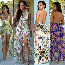 Halter Neck Women Fashion Long Maxi Tropical Printed Evening Party Dress Sexy S