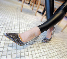 Womens Pointy Toe Stilettos Clubwear Wedding Sexy Bridial Evening Sequins Shoes