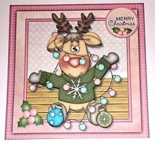 Handmade Greeting Card 3D Christmas With A Reindeer Tangled In Christmas Lights