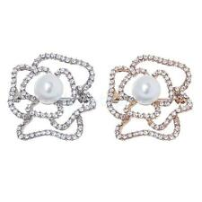 Hollow Cutout Rose Flower Diamante Crystal Rhinestone Brooches Pins Wedding