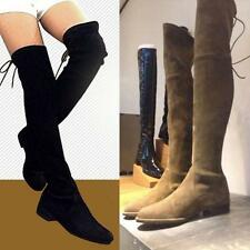 Women New Over the Knee Thigh High Flat Boots Slim Leg Booties Size 5-10 Suede