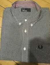 FRED PERRY GINGHAM CHECK LONG SLEEVE SHIRT SIZE LARGE