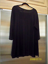 Cynthia Rowley Longline Top Plus Sz 1X Solid Black flattering Travel slinky knit