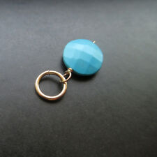 Turquoise Disc Wire Wrapped Gemstone with Jump Ring Interchangeable Pendant