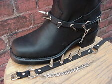 "BIKER BOOTS BOOT CHAINS BLACK TOPGRAIN COWHIDE LEATHER WITH BIG 1"" SPIKES NEW!"
