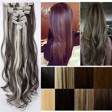 100% Salon Quality Clip In On Full Head Hair Extensions Blonde Brown Human Thick