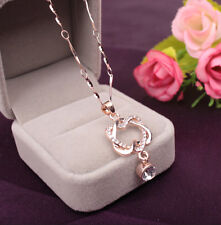 Heart 2016 Chain Women Double Gold /Silver Plated HOT Jewelry Pendant Necklace