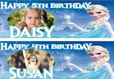 PERSONALISED BIRTHDAY BANNER FROZEN GIRLS KIDS 1st 18th 21st 30th 40th
