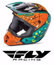 FLY RACING KINETIC CRUX MOTOCROSS ATV MX HELMET TEAL/ORANGE/BLK KIDS YOUTH SIZE