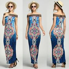 Women Sexy Long Boho Maxi Evening Party Dress Summer Beach Off Shoulder Dress
