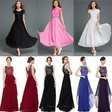 Sexy Lace Chiffon Bridesmaid Wedding Prom Evening Party Cocktail Maxi Long Dress
