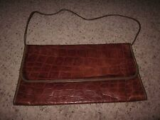 Carlos Falchi Vtg Caramel Leather Croc Embossed Crossbody Clutch Shoulder Bag