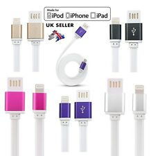 1MT LONG FLAT USB DATA SYNC CHARGER CABLE LEAD for iPhone 5 5S 5C 6 iPad 4 Mini
