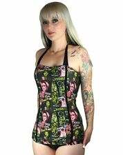 Too Fast Monster Girls Swimsuit Vintage 50s Rockabilly Pinup Tattoo Punk Goth  S