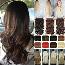 Real Thick One Piece Clip in 3/4 Full Head Hair Extensions as human hair T3g