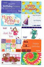 Lot of 10 OLDER Wal-Mart Gift Card Collectibles HAPPY BIRTHDAY THEMED no value
