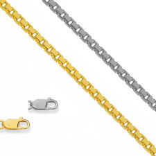 """10k Solid Yellow Or White Gold 1.2mm Octagonal Box Chain Necklace 18"""" 20"""" 22"""""""