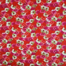 Red Flowers 100% Cotton: Fabric Quilting Dressmaking Floral Green Material Pink