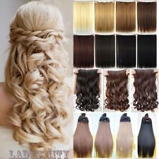 US Clip in Hair Extensions Half Full Head One Piece Synthetic brown black T3g