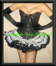 Deluxe French Maid Costume Corset + Skirt +Gloves+Thigh HIghs HALLOWEEN  S-2XL