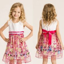 Kids Girls Bowknot Princess Dress Baby Party Pageant Tutu Tulle Sleeveless Dress
