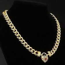 Euro 18ct Yellow Gold-Layered Filigree Heart Chain Necklace Simulated Diamond