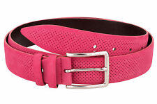 Nubuck pink Belt Women belts Golf Perforated leather suede Limited edition