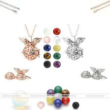 Natural Gems Ball Bead Hollow Angle Wing Open Cage Locket Pendant Chain Necklace