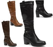 WOMENS HIGH HEEL FASHION KNEE HIGH BOOTS BUCKLE ZIP UP CASUAL LADIES SHOES SIZE