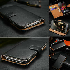 Luxury Genuine Leather Flip Stand Wallet Case Cover For Sony Xperia Phones