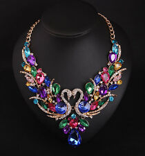Elegant Fashion Women Multicolor Crystal Rhinestone Swan  Bib Statement Necklace
