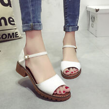 New Women Platform Fish mouth Lady Shallow Sandals Pointed Toe Chunky Shoes K