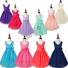 Flower Girl Princess Dress Kid Party Pageant Wedding Bridesmaid Tutu Dress 2-14