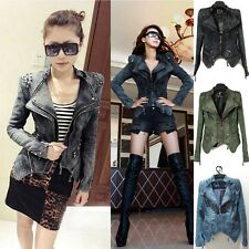 Chic New Cool Women Punk Strong Spike Studded Shoulder Denim Cropped Jacket Coat