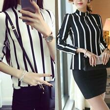 Sexy Womens Long Sleeve Chiffon Tops Casual Loose Striped Shirt Blouse PLUS SIZE