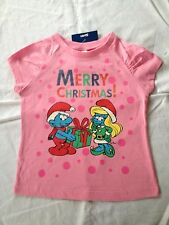 Girl's Licensed 'The Smurfs' Christmas T-Shirt, Sizes: 1, 2, 3, 4, 5 & 6, BNWT!!