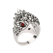 Male Jewelry Antique Ring Silver Crystal Animal Eagle Head Shaped Mens Ring