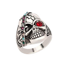 Male Jewelry Individual Punk Skull Ring Vintage Silver Crystal Mens Ring