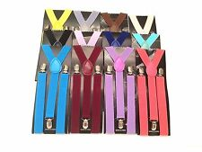 Mens Womens Clip-on Suspenders Elastic Y-Shape Adjustable Braces US SELLER
