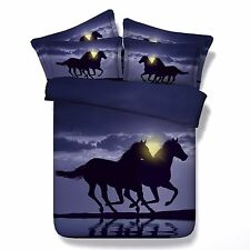 3D Bedding Queen Quilt Doona Duvet Cover Bed Sheet Pillowcase Set -Horse Water--
