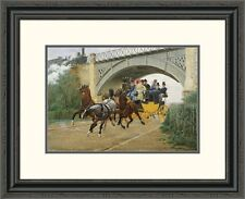Global Gallery 'Startled by Steam' by Jean Richard Goubie Framed Painting Print