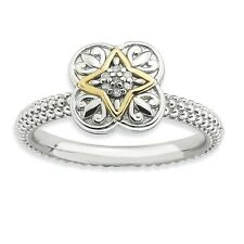 925 Sterling Silver Diamond Four Leaf Clover Ring - 2.25mm