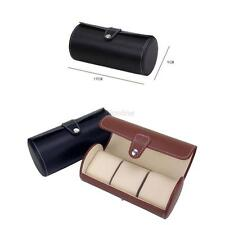 Travel Case PU Leather Roll Box Collector Organizer Jewelry Storage 3 Slot New