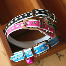Adjustable Lovely Dog Kitty Cat Waterproof Neck Collar With Safety Bell New WWS