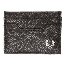 New Mens Fred Perry Black Scotchgrain Card Pvc Wallet Wallets