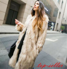 Hot Women Faux Fox Fur Winter Warm Long Coat Jacket Parka Trench Coat Outerwear#