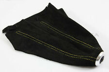 UNIVERSAL EURO RACING ALCANTARA BLACK SUEDE YELLOW STITCH MANUAL AUTO SHIFT BOOT